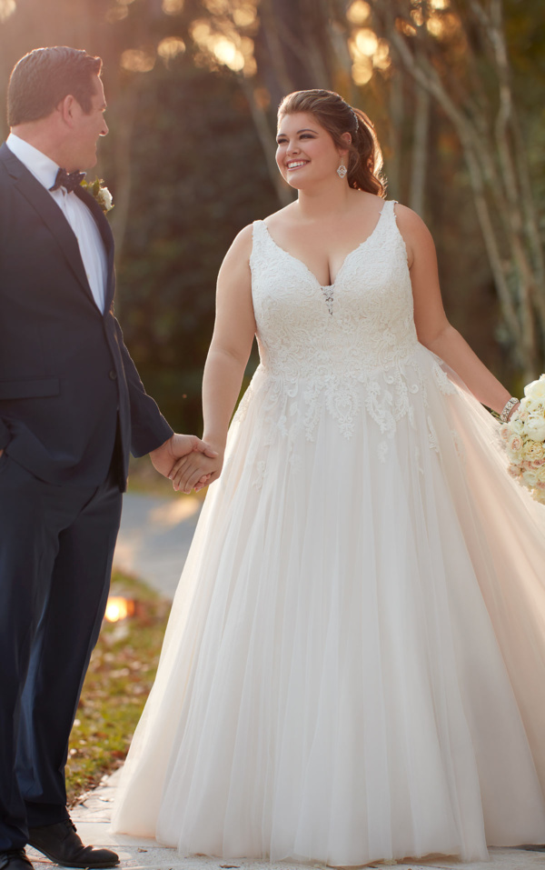 MODEST A-LINE LACE WEDDING DRESS