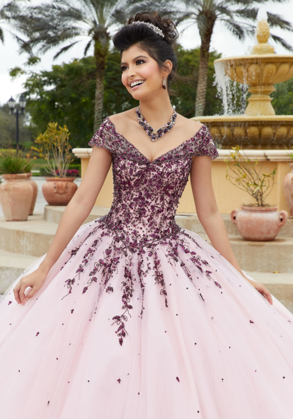 Contrasting Crystal Beaded Embroidery on a Tulle Ballgown