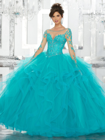 Beaded Embroidery on Net with Flounced Tulle Ball Gown Skirt