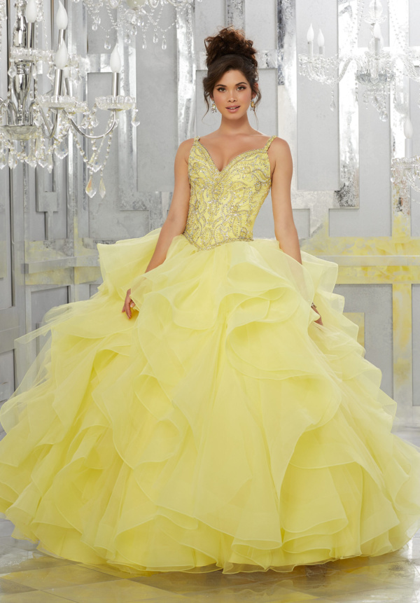 yellow sparkly quinceanera dress