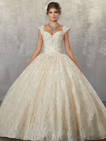 Crystal Beaded, Lace Appliqués on a Metallic Allover Lace Ballgown