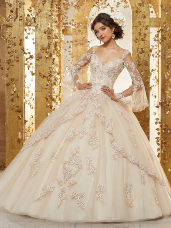 Crystal Beaded Lace Appliqués on a Princess Tulle Ballgown