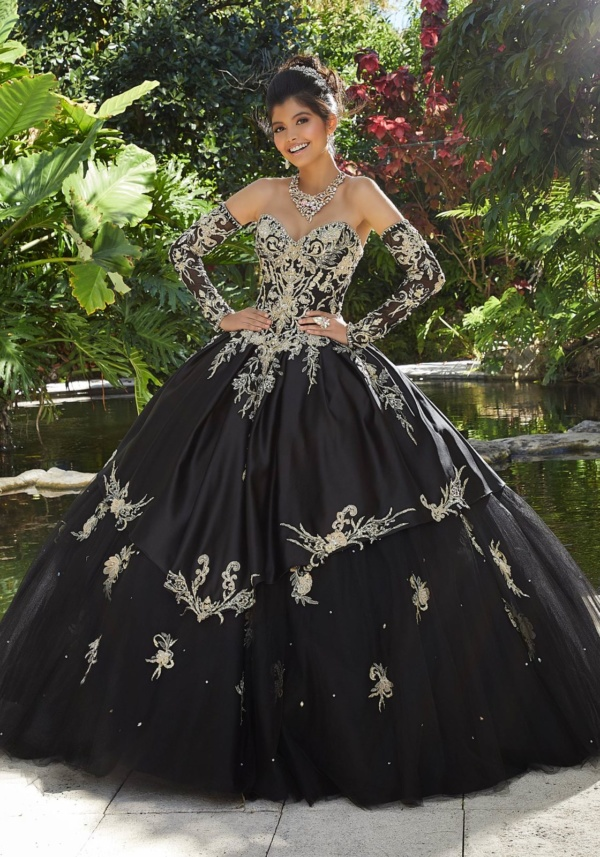 Rhinestone and Crystal Beading on Three-Dimensional, Metallic Embroidery on a Tulle Ballgown