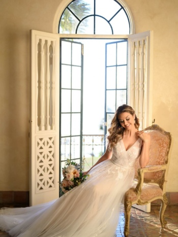 SHEER TULLE AND LACE WEDDING GOWN