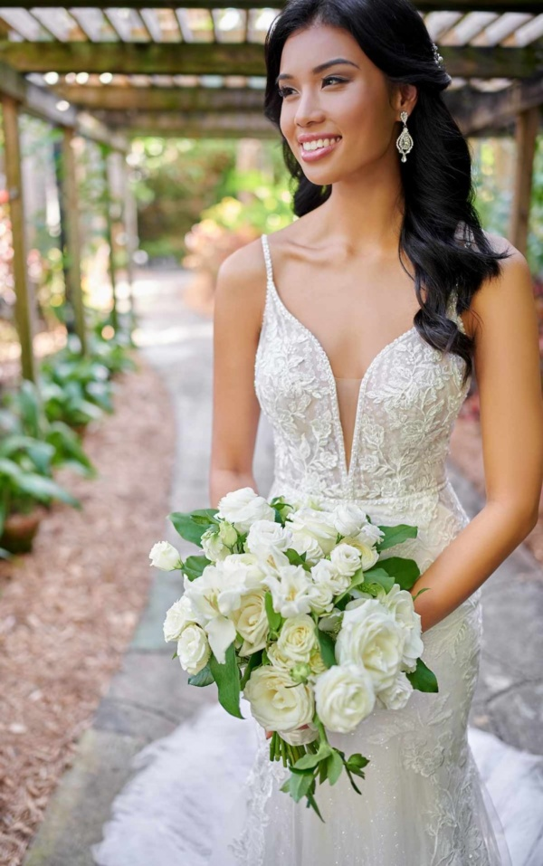 SPARKLING FIT-AND-FLARE WEDDING DRESS WITH SHEER BODICE