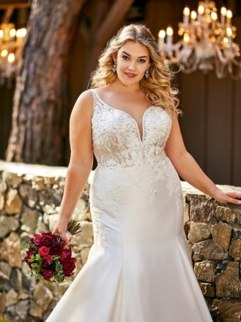 PLUS SIZE TRADITIONAL WEDDING DRESS WITH BEADING