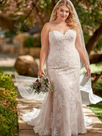 STRAPLESS SHIMMERY PLUS SIZE FIT-AND-FLARE WEDDING GOWN