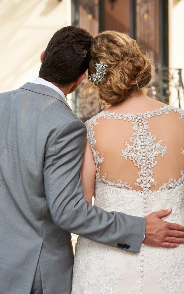 SPARKLING SILVER LACE PLUS SIZE WEDDING DRESS
