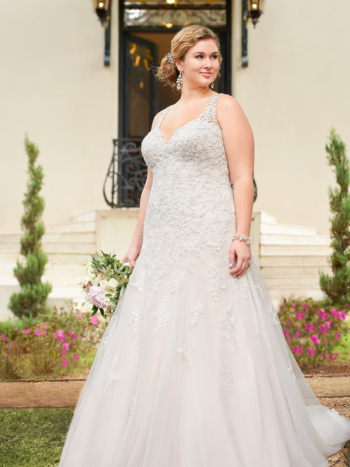 SPARKLING SILVER LACE PLUS SIZE WEDDING DRESS