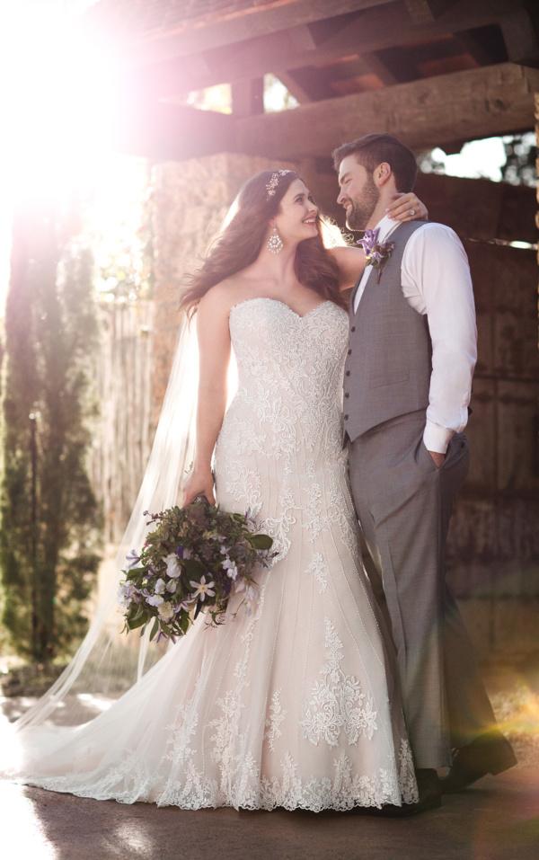 PLUS SIZE BEADED CURVE-HUGGING TRUMPET WEDDING DRESS