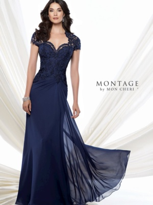 Chiffon A-line gown with lace Queen Anne neckline and short sleeves