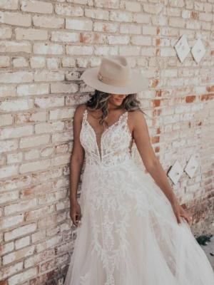LACE V-NECKLINE WEDDING DRESS WITH SHEER BODICE