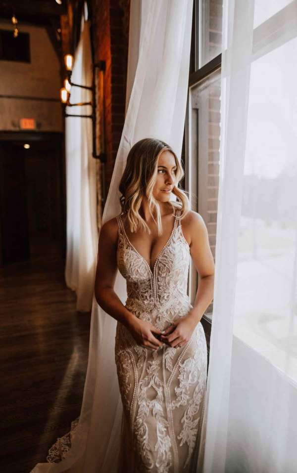 LACE COLUMN WEDDING DRESS WITH PEARL & BEADED EMBELLISHMENTS