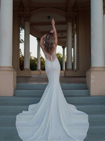 SIMPLE V-NECKLINE FIT-AND-FLARE WEDDING DRESS WITH SHEER BACK