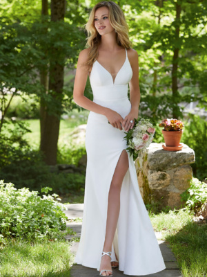 Our Bali designer wedding dress is a sleek and chic crepe gown.