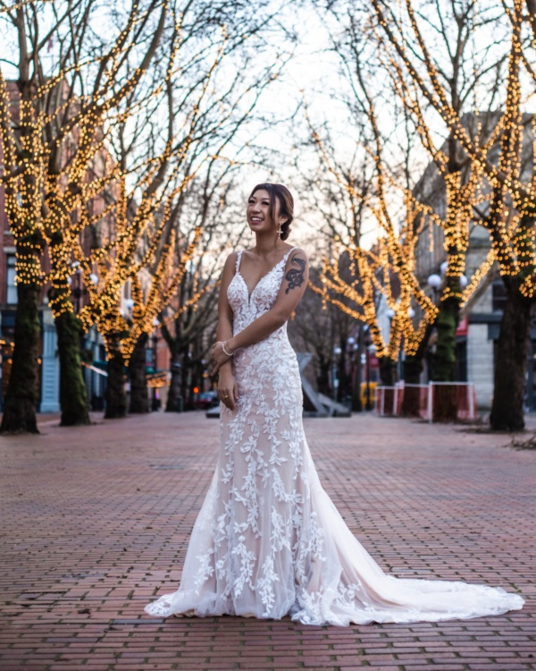 LEAFY LACE FIT-AND-FLARE WEDDING DRESS WITH BACK DETAILS